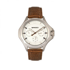 Breed Tempe Leather-Band Watch w/Day/Date - Light Brown/Silver