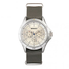 Breed Dixon Leather-Band Watch w/Day/Date - Silver/Grey