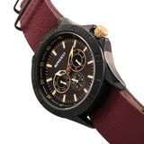 Breed Dixon Leather-Band Watch w/Day/Date - Black/Red BRD7305