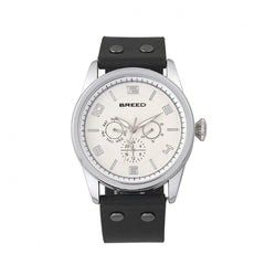 Breed Rio Leather-Band Watch w/Day/Date - Silver/Black