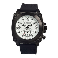 Breed Vin Dual-Time-Zone Swiss Quartz Men's Watch-Black/White