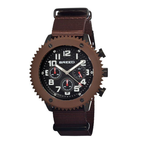 Breed Decker Nylon-Band Chronograph Men's Watch-Brown BRD1503