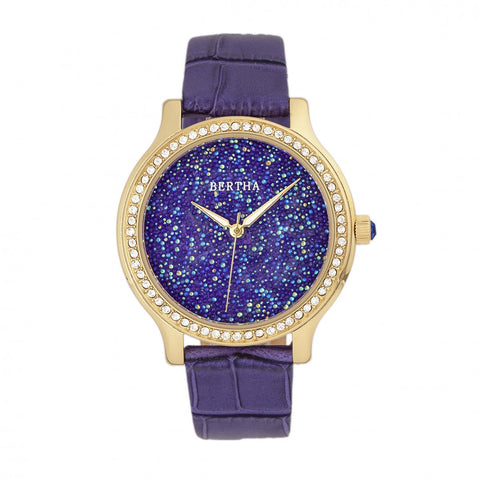 Bertha Cora Crystal-Encrusted Leather-Band Watch - Purple