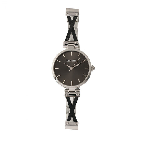 Bertha Amanda Criss-Cross Bracelet Watch - Silver/Black BTHBR7602