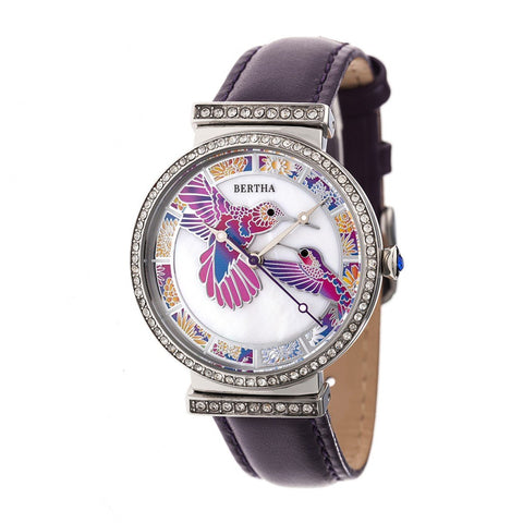 Bertha Emily MOP Leather-Band Watch - Silver/Purple