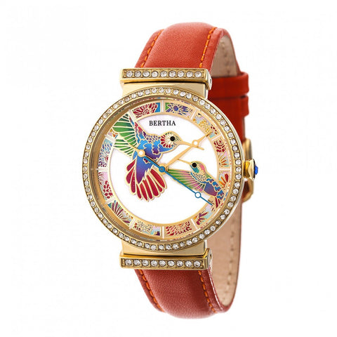 Bertha Emily MOP Leather-Band Watch - Gold/Orange