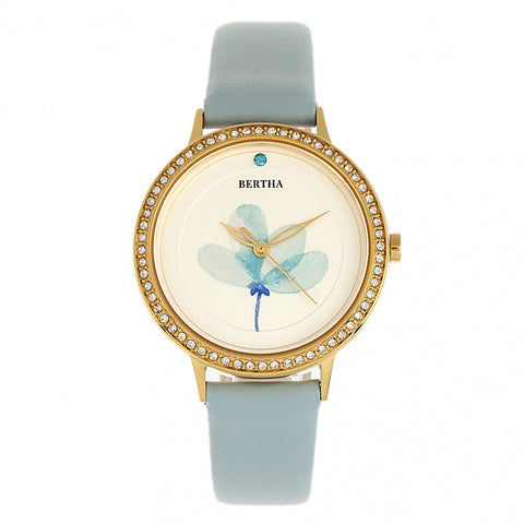 Bertha Delilah Leather-Band Watch - Gold/Light Blue BTHBR8604
