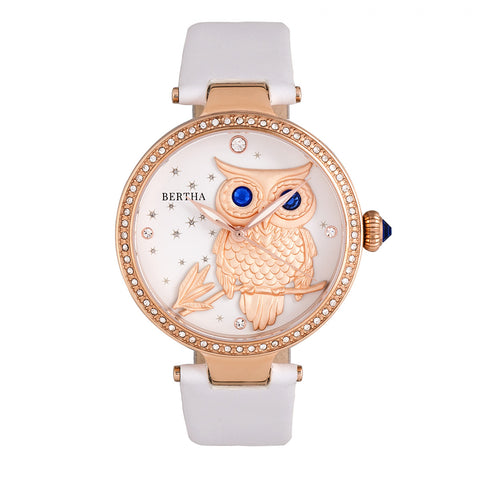 Bertha Rosie Leather-Band Watch - Rose Gold/White BTHBR8805