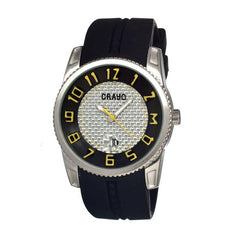 Crayo Rugged Men's Watch w/ Magnified Date - Black/Yellow