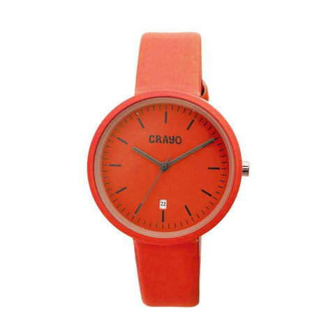 Crayo Easy Leather-Band Unisex Watch w/ Date - Red CRACR2403