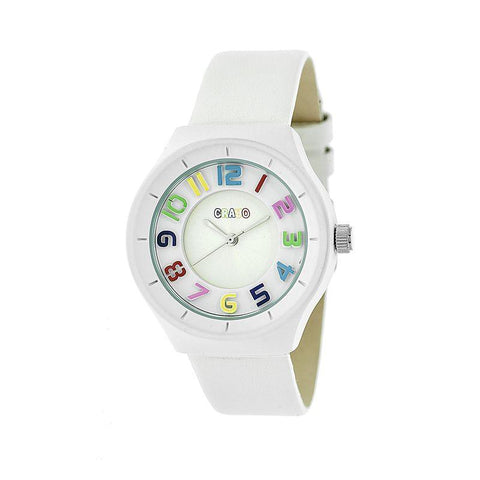 Crayo Atomic Leather-Band Watch - White CRACR3501