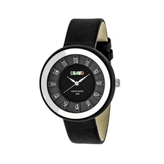 Crayo Celebration Leather-Band Watch - Black