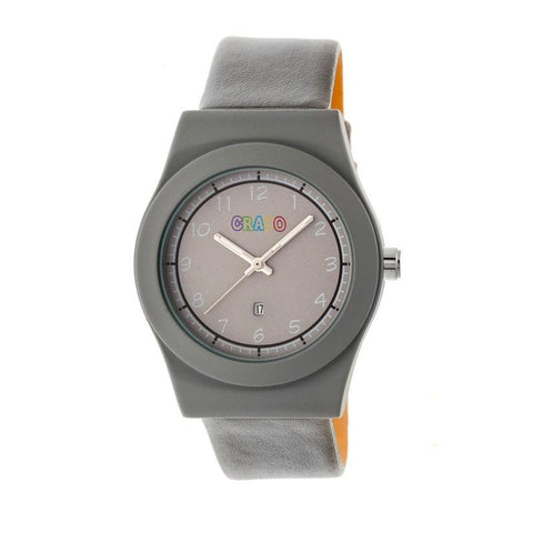 Crayo Dazzle Leather-Band Watch w/Date - Grey CRACR4105