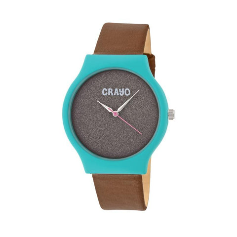 Crayo Glitter Strap Watch - Teal/Brown CRACR4505