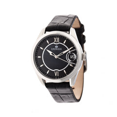 Empress Messalina MOP Leather-Band Watch w/Date - Black
