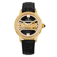 Empress Rania Mechanical Semi-Skeleton Leather-Band Watch - Black