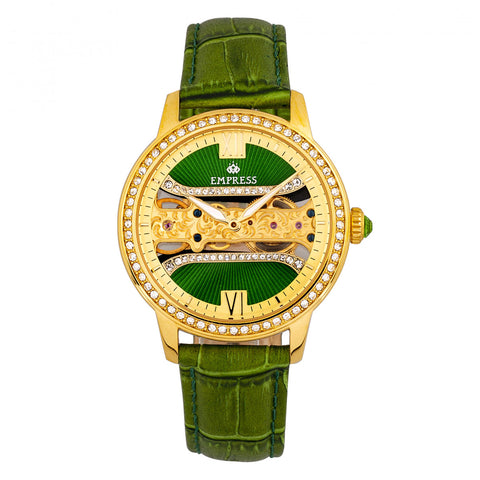 Empress Rania Mechanical Semi-Skeleton Leather-Band Watch - Green EMPEM2802