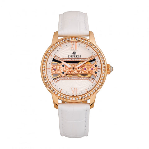 Empress Rania Mechanical Semi-Skeleton Leather-Band Watch - White EMPEM2803