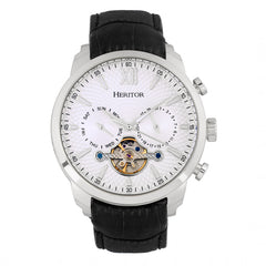 Heritor Automatic Arthur Semi-Skeleton Leather-Band Watch w/ Day/Date - Silver
