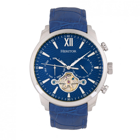 Heritor Automatic Arthur Semi-Skeleton Leather-Band Watch w/ Day/Date - Silver/Blue HERHR7903