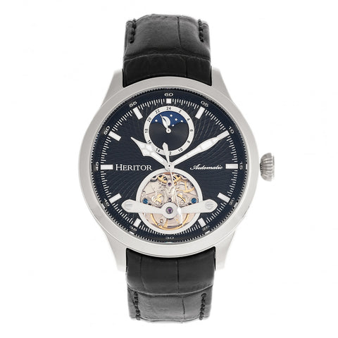 Heritor Automatic Gregory Semi-Skeleton Leather-Band Watch - Black HERHR8102