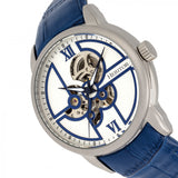 Heritor Automatic Sanford Semi-Skeleton Leather-Band Watch - Silver/Blue HERHR8301