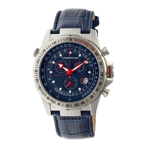 Morphic M36 Series Leather-Band Chronograph Watch - Silver/Blue MPH3603