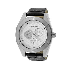 Morphic M46 Series Leather-Band Men's Watch w/Date - Silver