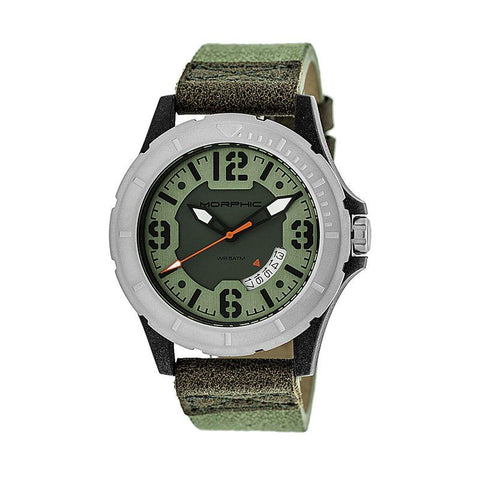 Morphic M47 Series Leather-Band Watch w/ Date - Green/Olive MPH4702