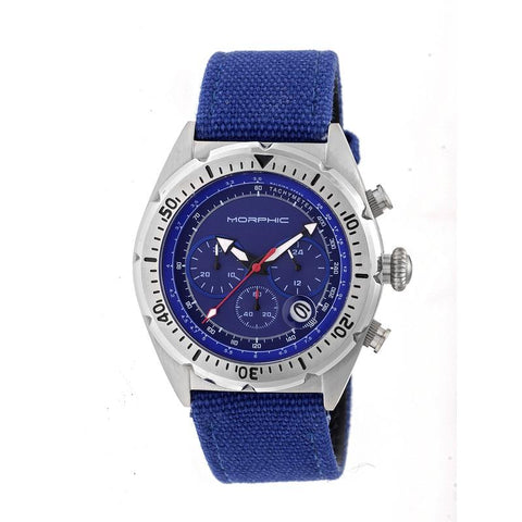 Morphic M53 Series Chronograph Fiber-Weaved Leather-Band Watch w/Date - Silver/Blue MPH5303