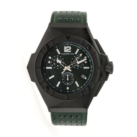 Morphic M55 Series Chronograph Leather-Band Watch w/Date - Black/Green MPH5505