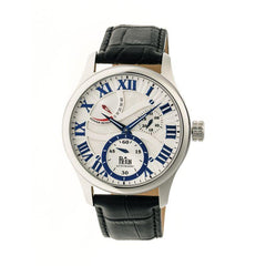 Reign Bhutan Leather-Band Automatic Watch - Silver