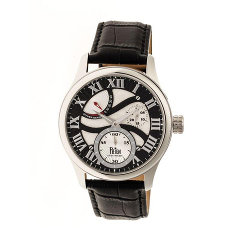 Reign Bhutan Leather-Band Automatic Watch - Silver/Black REIRN1602