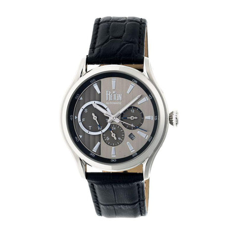 Reign Gustaf Automatic Leather-Band Watch - Black/Silver REIRN1501