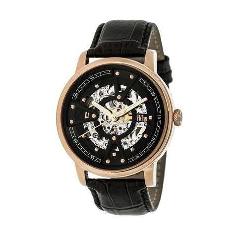 Reign Belfour Automatic Skeleton Leather-Band Watch - Rose Gold/Black REIRN3605