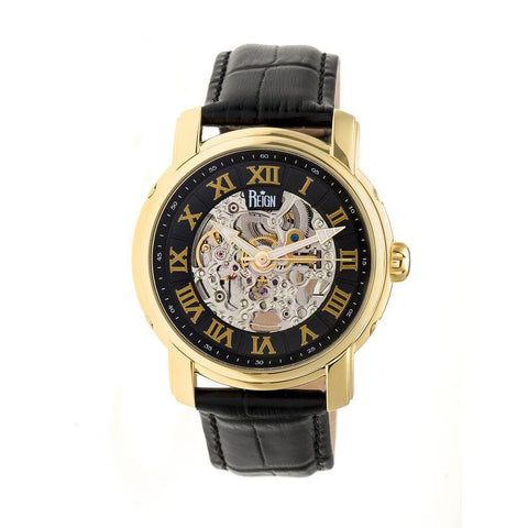 Reign Kahn Automatic Skeleton Leather-Band Watch - Gold/Black REIRN4305