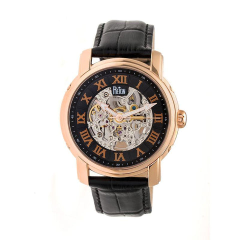 Reign Kahn Automatic Skeleton Leather-Band Watch - Rose Gold/Black REIRN4306