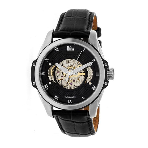 Reign Henley Automatic Semi-Skeleton Leather-Band Watch - Black REIRN4504