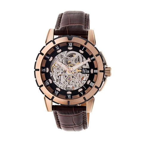 Reign Philippe Automatic Skeleton Leather-Band Watch - Rose Gold/Black REIRN4606