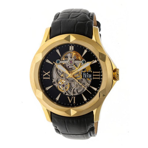Reign Dantes Automatic Skeleton Dial Leather-Band Watch - Gold/Black REIRN4705