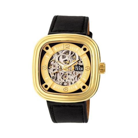 Reign Nero Skeleton Dial Leather-Band Watch - Gold REIRN4804
