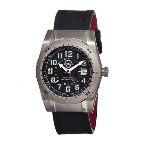 Shield Nuno Leather-Band Swiss Men's Diver Watch - Silver/Black SLDSH0101