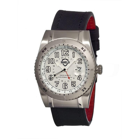 Shield Nuno Leather-Band Swiss Men's Diver Watch - Silver SLDSH0102