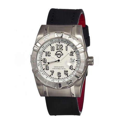 Shield Jarrod Leather-Band Swiss Men's Diver Watch - Silver SLDSH0401