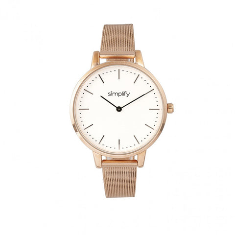 Simplify The 5800 Mesh Bracelet Watch - Rose Gold/White SIM5805