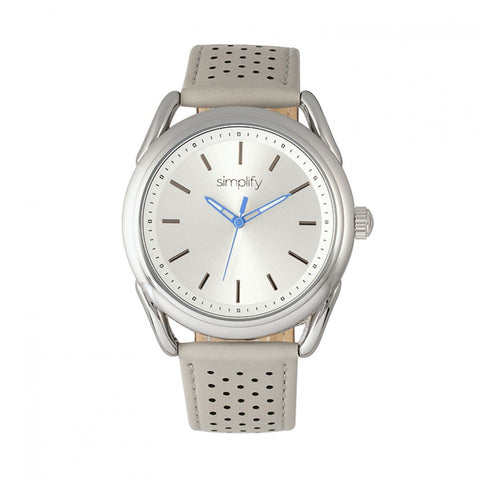Simplify The 5900 Leather-Band Watch - Silver/Grey SIM5902