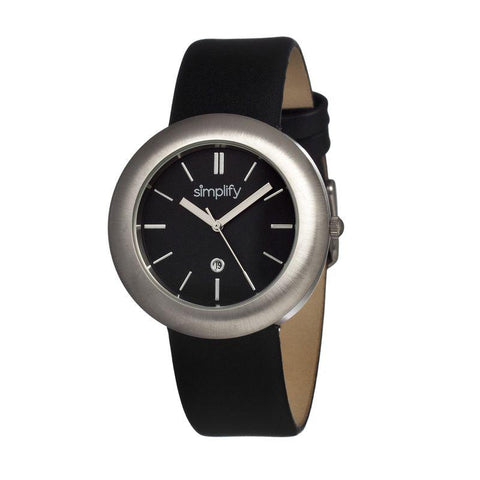 Simplify The 900 Leather-Band Ladies Watch w/ Date - Silver/Black SIM0902