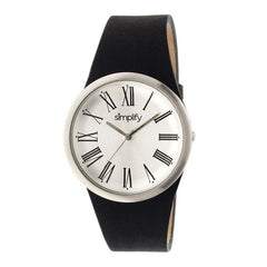 Simplify The 2000 Leather-Band Unisex Watch - Silver