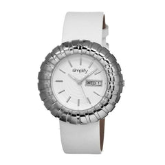 Simplify The 2100 Leather-Band Ladies Watch w/Date - Silver/White