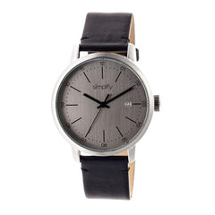 Simplify The 2500 Leather-Band Men's Watch w/ Date - Silver